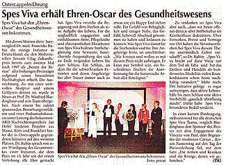 SPES VIVA wird mit dem Janssen-Cilag-Nachhaltigkeitspreis 2006 ausgezeichnet